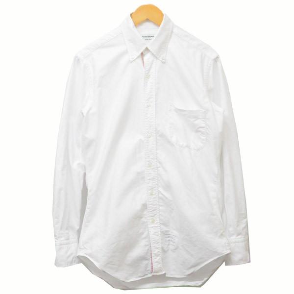 【中古】THOM BROWNE トリコロールプリント ボタンダウンシャツ シャツ ホワイト サイズ:1 【150320】(トム・ブラウン)