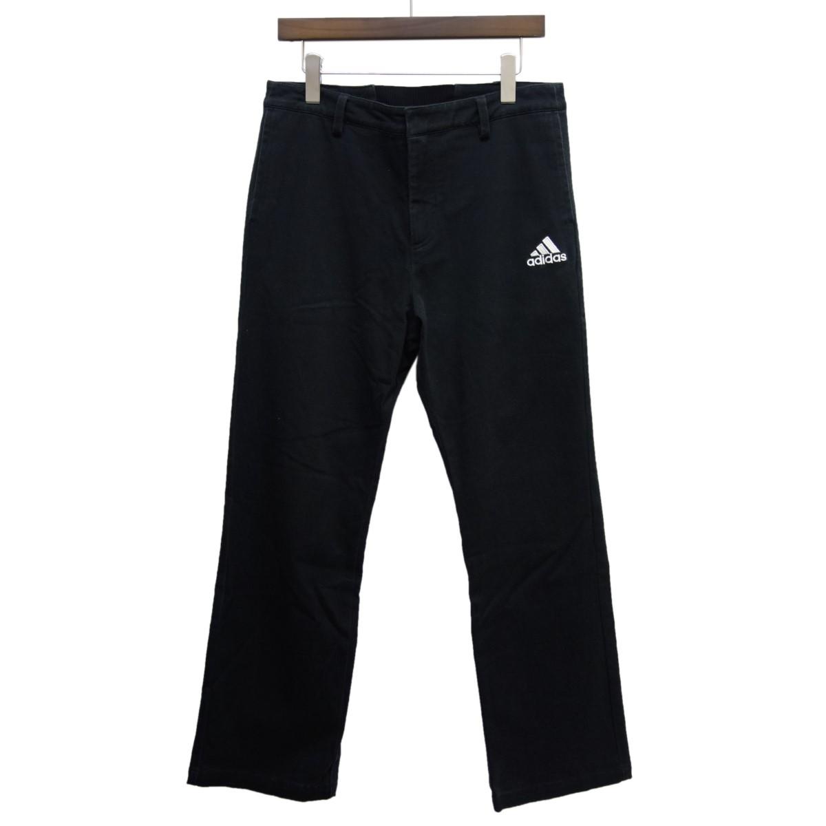 【中古】Gosha Rubchinskiy × adidasロゴ刺繍パンツ ブラック サイズ:0 【4月2日見直し】