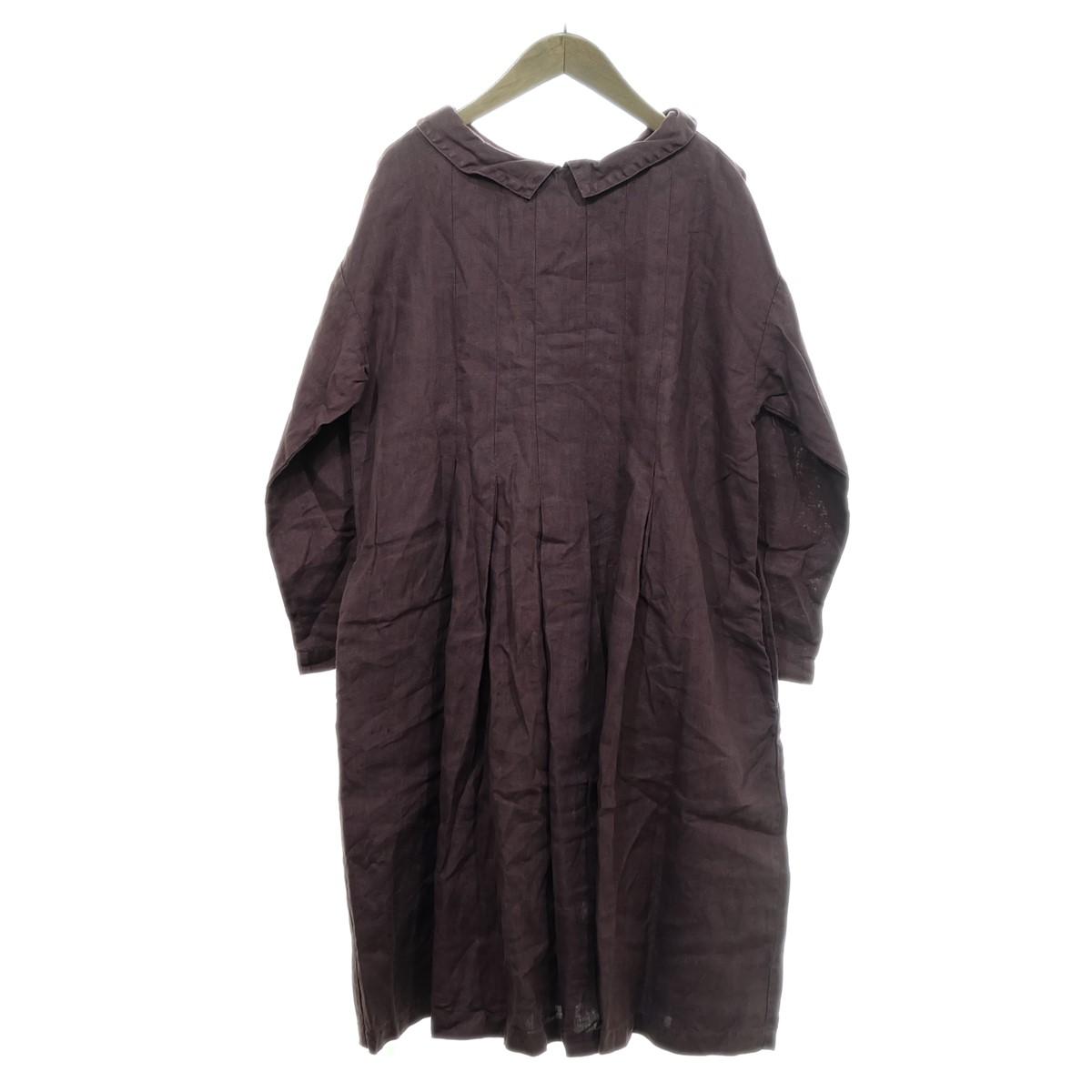 【中古】nest Robe リネンバックボタンワンピース エンジ 【160320】(ネストローブ)