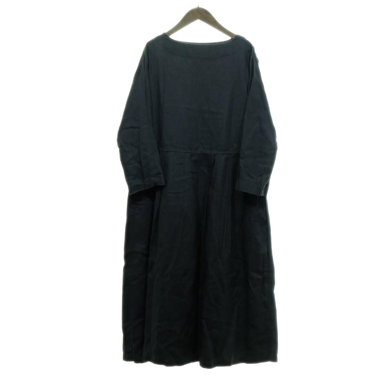 【中古】nest Robe リネンワンピース チャコールグレー 【160320】(ネストローブ)