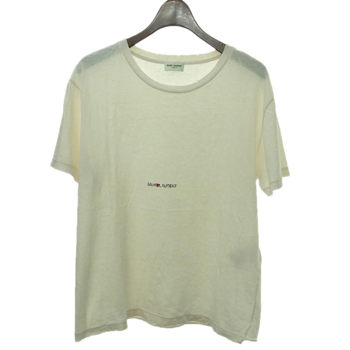 【中古】SAINT LAURENT PARIS クラシックロゴプリントTシャツ ライトピンク サイズ:S 【180320】(サンローランパリ)