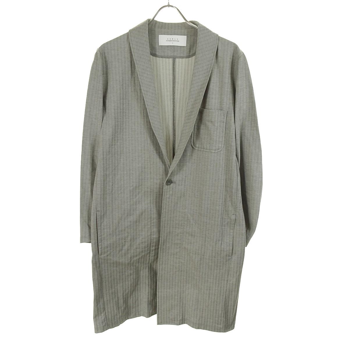 【中古】CURLY Folksy Shirts Coat ショールカラーコート 17SS グレー サイズ:2 【170320】(カーリー)