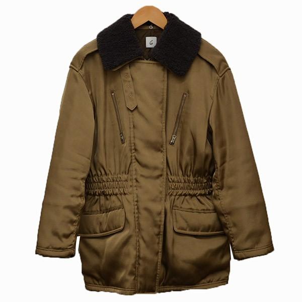 【中古】6(ROKU) BEAUTY&YOUTH BOA COLLAR ZIP COAT 襟ボア ジャケット ブルゾン ベージュ サイズ:36 【170320】(ロク ビューティアンドユース)