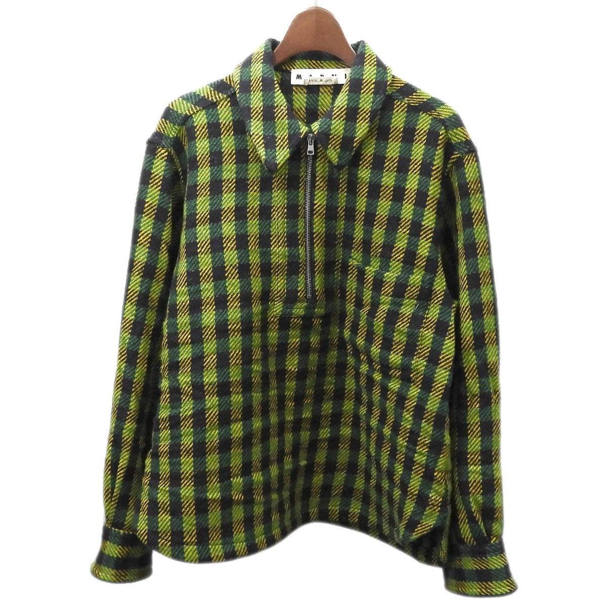 【中古】MARNI 2017AW ハーフジップチェックシャツ グリーン サイズ:46 【180320】(マルニ)