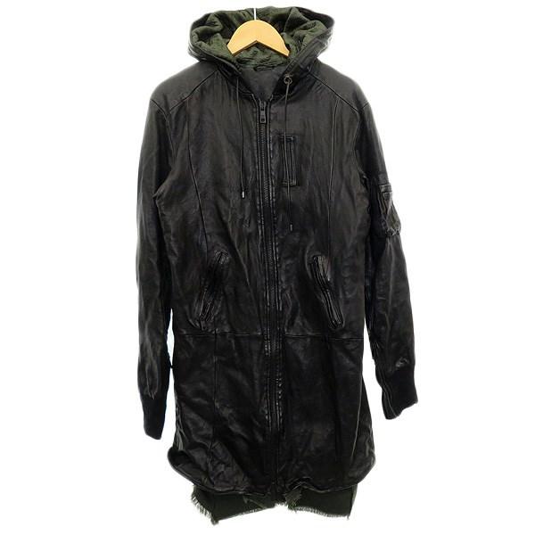 【中古】GIORGIO BRATO レザーフーデッドコート ブラック サイズ:48 【180320】(ジョルジオブラット)