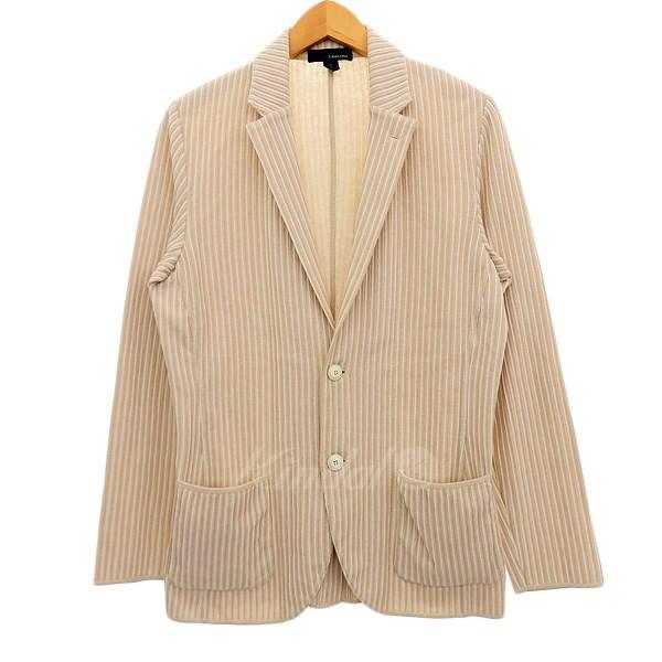 【中古】LARDINI ストライプニットテーラードジャケット ベージュ×ホワイト サイズ:S 【180320】(ラルディーニ)