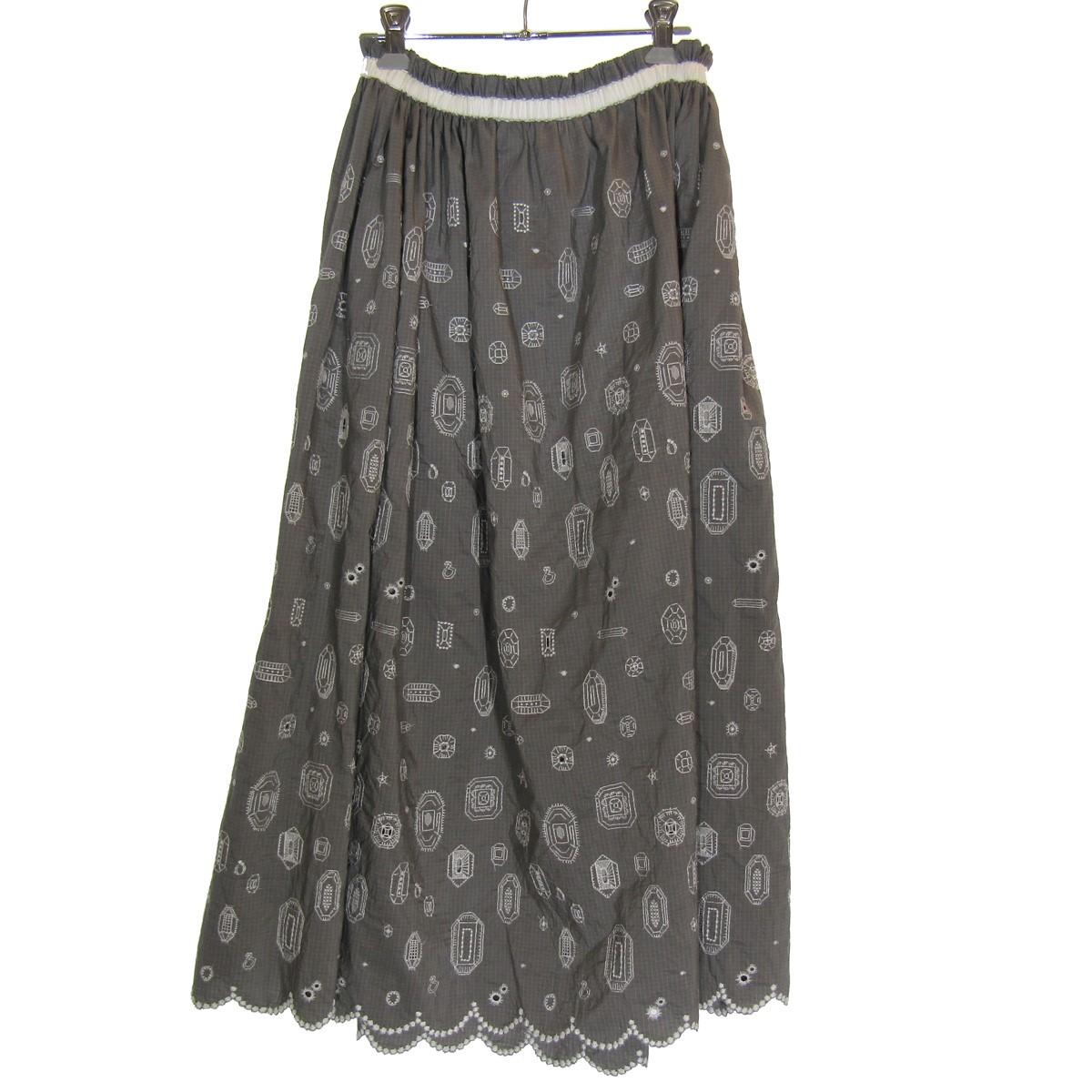 【中古】mina perhonen 2019SS xs5130 gemma スカート グレー サイズ:40 【180320】(ミナペルホネン)