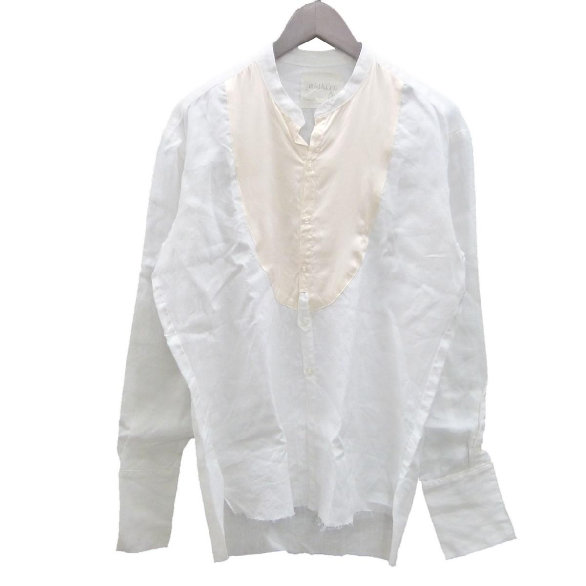 【中古】GREG LAUREN 「THE STUDIO SHIRT」ノーカラーリネンシルクシャツ ホワイト サイズ:1 【180320】(グレッグローレン)