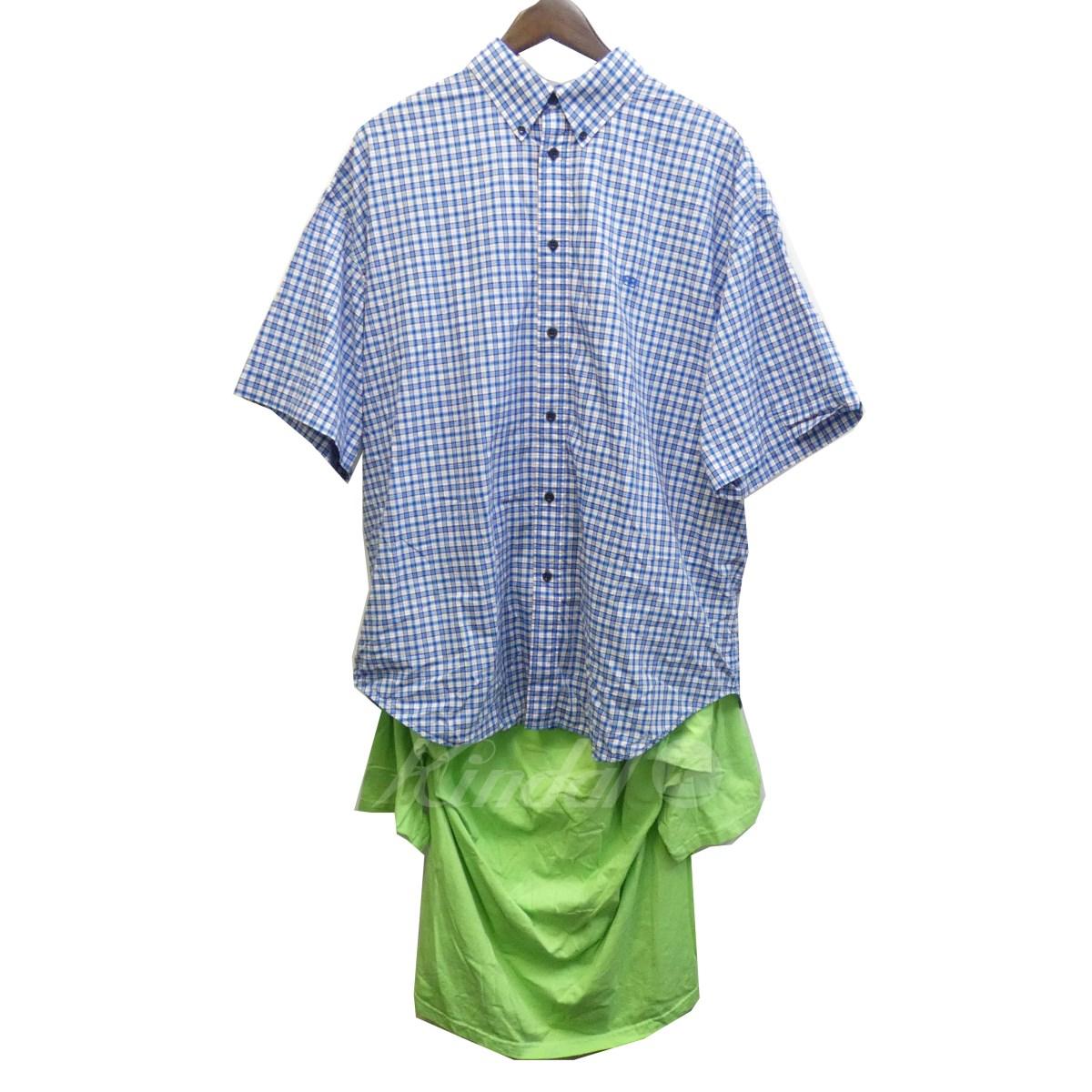 【中古】BALENCIAGA 18SS Tシャツコンビロングスリーブストライプシャツ 518022 ブルー×グリーン サイズ:36 【180320】(バレンシアガ)
