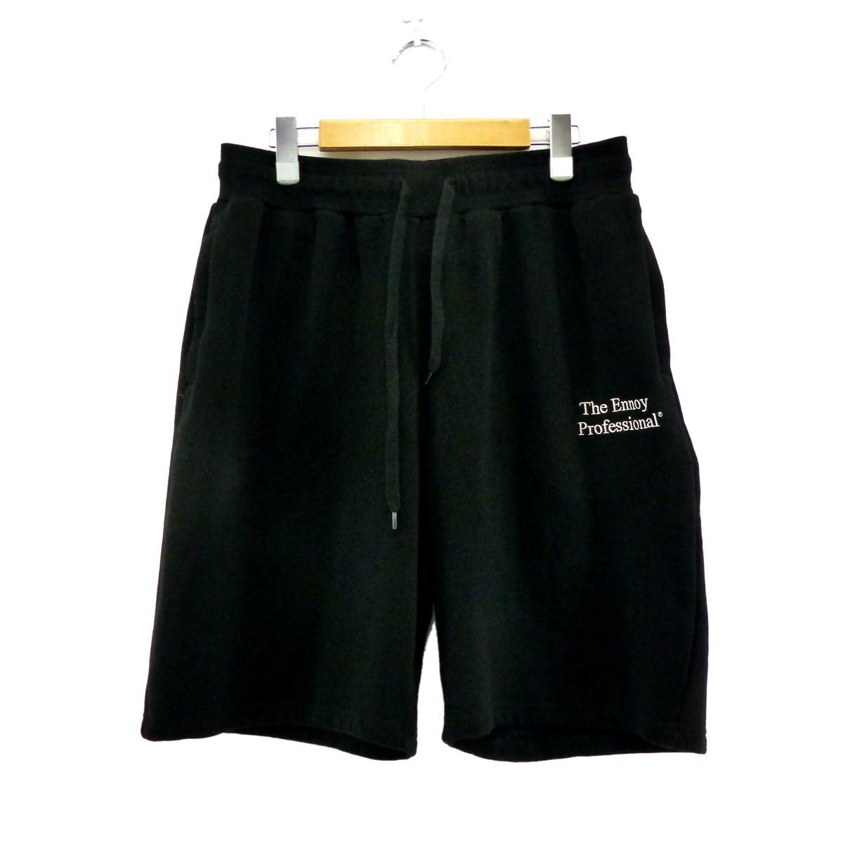 【中古】ENNOY ロゴ刺繍 ハーフパンツ ブラック サイズ:L 【200320】(エンノイ)