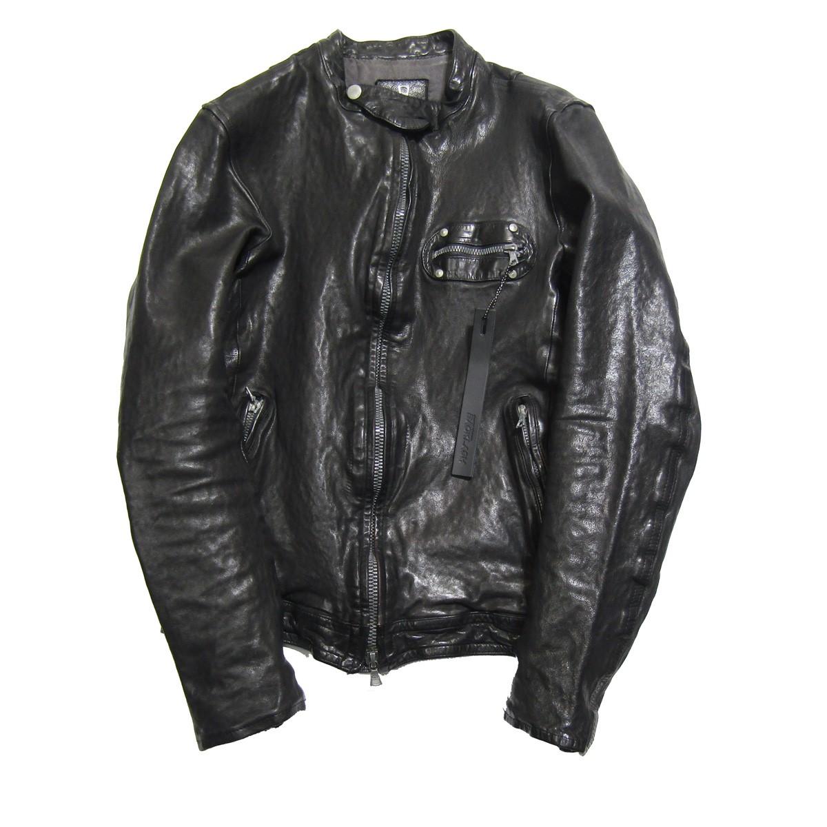 【中古】ISAMU KATAYAMA BACKLASH ドイツカーフ製品染めシングルライダースジャケット ブラック サイズ:L 【200320】(イサムカタヤマバックラッシュ)