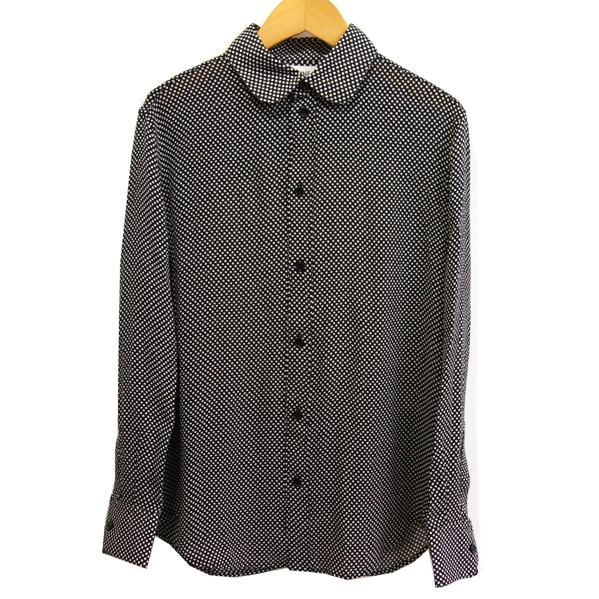 【中古】CELINE レーヨンドットシャツ ブラック サイズ:36 【200320】(セリーヌ)