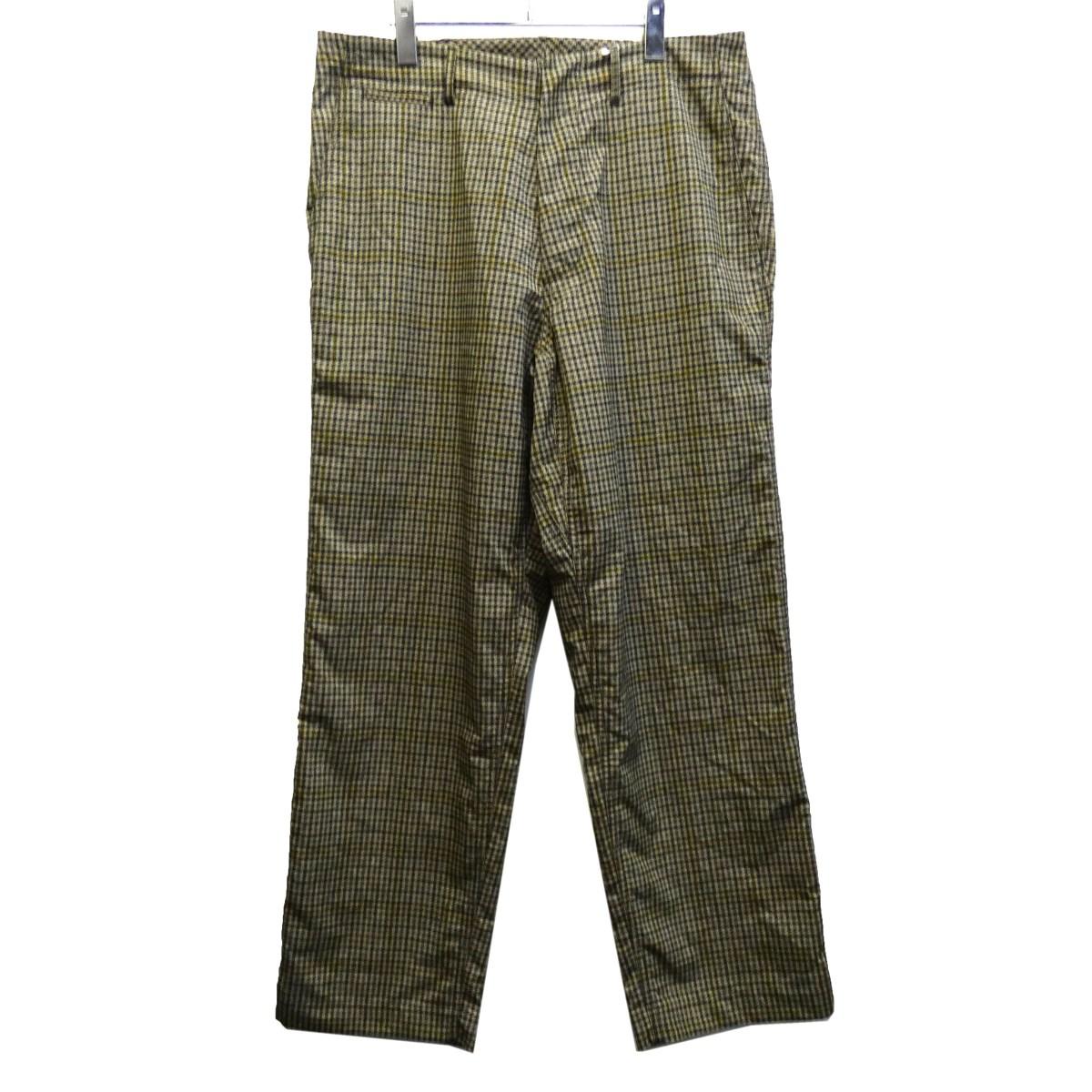 【中古】nanamica 「ALPHADRY CLUB PANTS」 チェックワイドパンツ ベージュ サイズ:34 【200320】(ナナミカ)