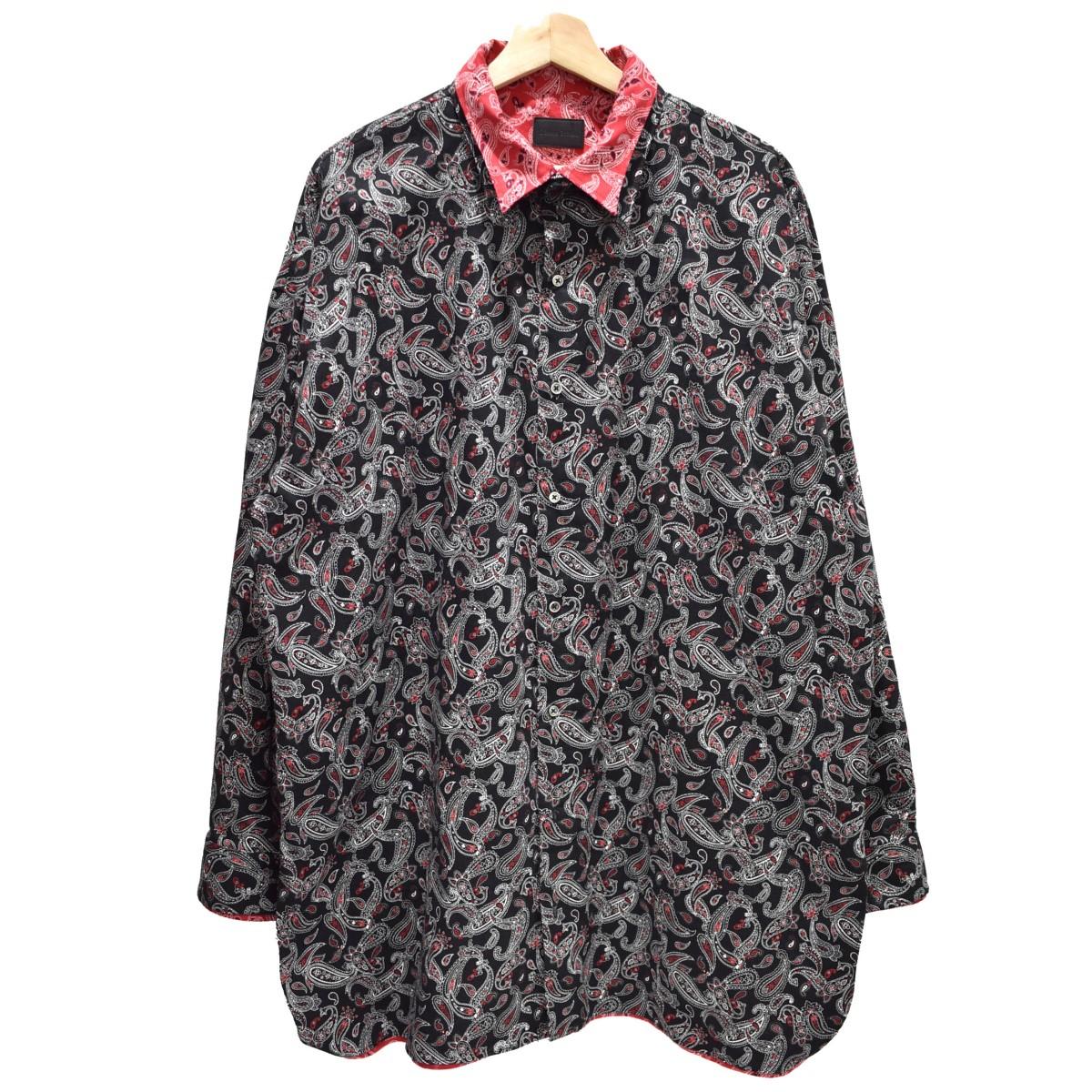 【中古】Danke schon ペイズリーレイヤードシャツ 長袖シャツ レッド×ブラック サイズ:FREE 【200320】(ダンケシェーン)