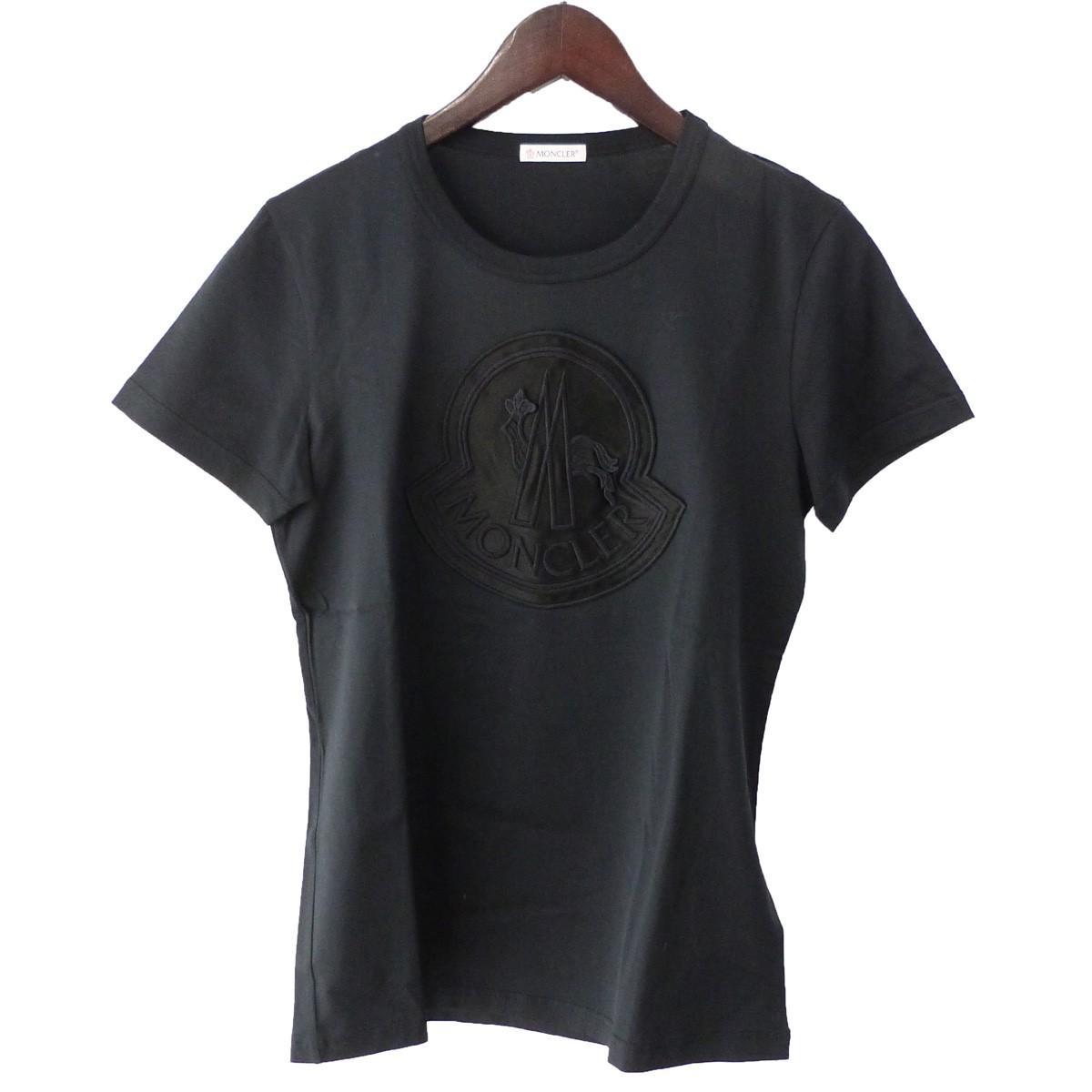 【中古】MONCLER 「T-SHIRT GIROCOLLO」 プリントTシャツ ブラック サイズ:M 【210320】(モンクレール)