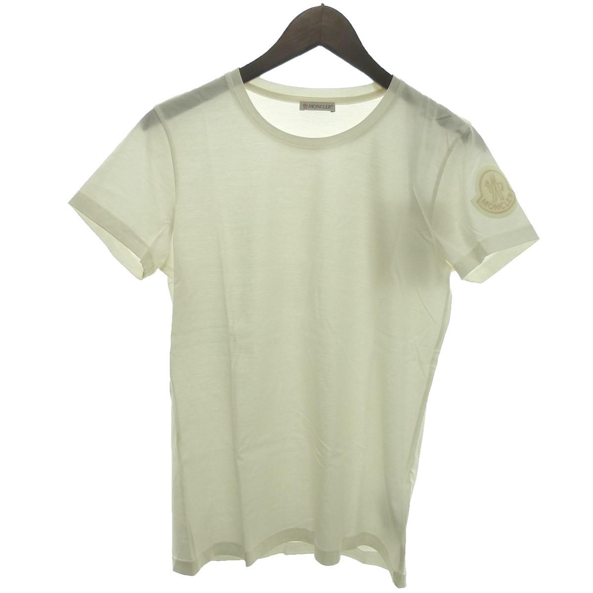 【中古】MONCLER 「T-SHIRT GIROCOLLO」 袖ワッペンTシャツ ホワイト サイズ:M 【210320】(モンクレール)