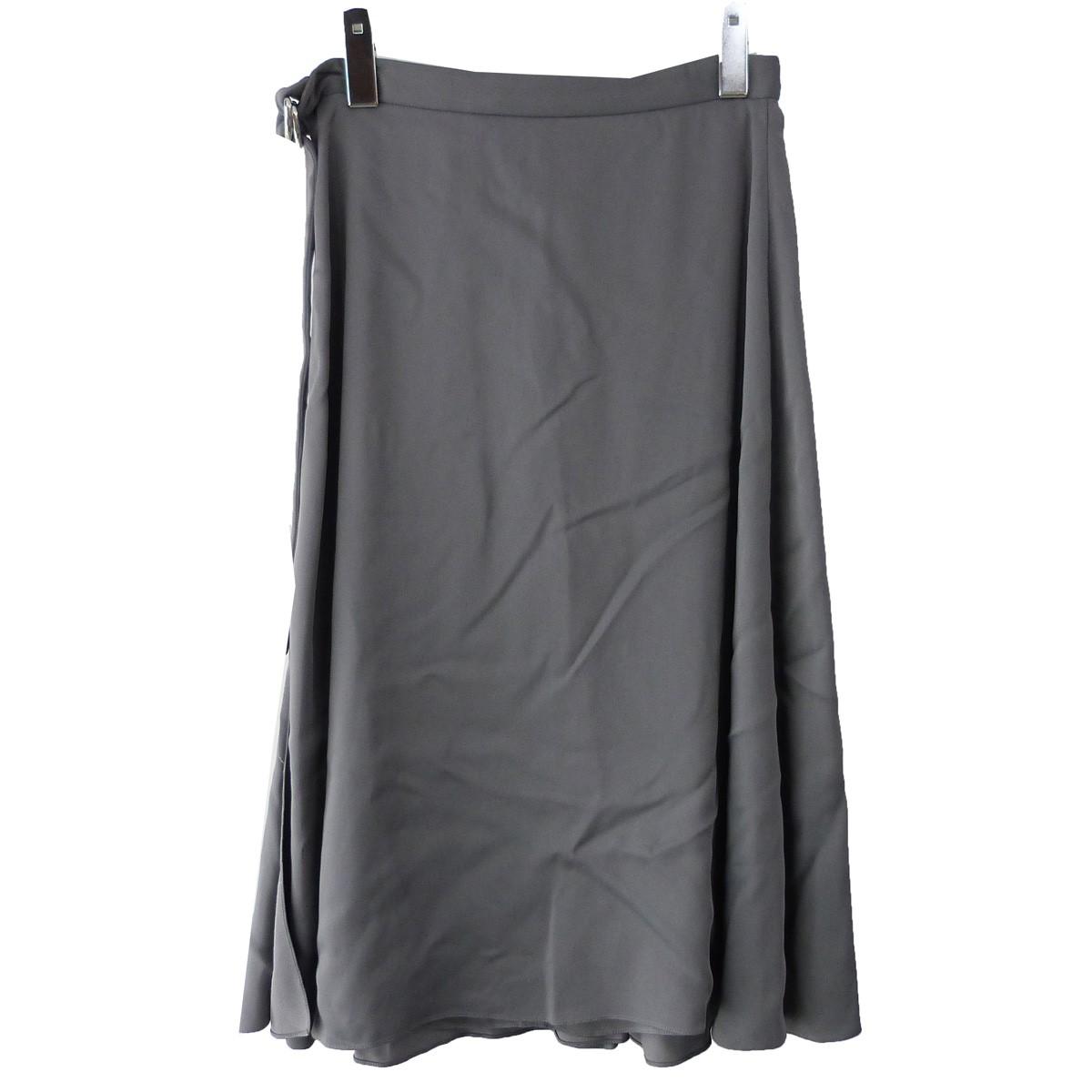 【中古】BALENCIAGA ベルト付スカート グレー サイズ:34 【210320】(バレンシアガ)