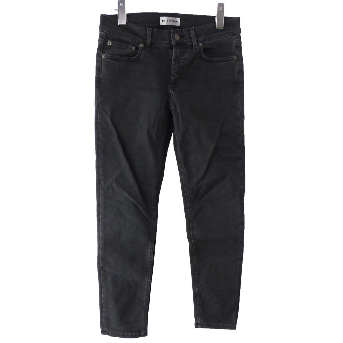 【中古】BALENCIAGA 19SS ストレートスキニーデニムパンツ ブラック サイズ:34 【220320】(バレンシアガ)