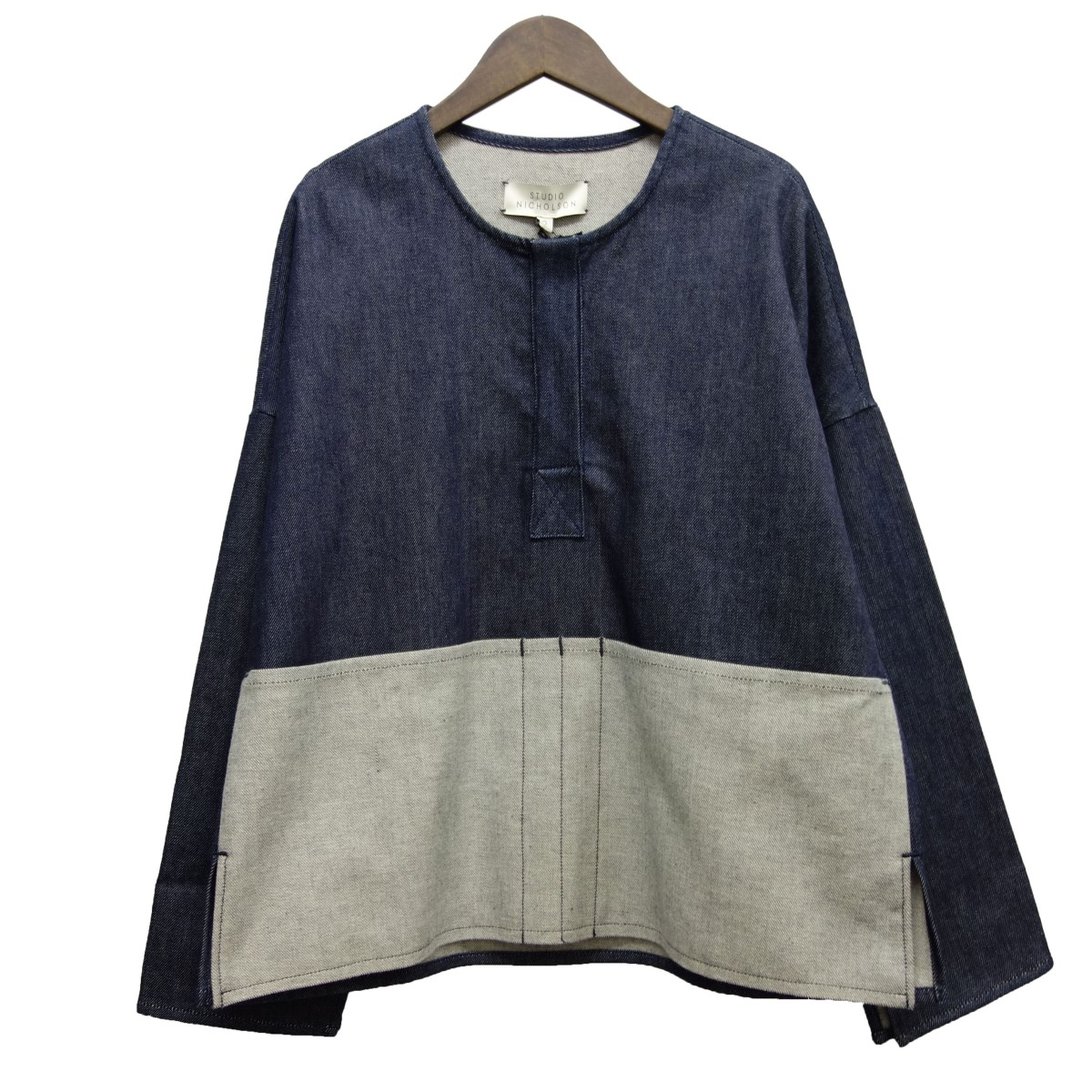 【中古】STUDIO NICHOLSON「STRIDER」 デニムプルオーバーシャツ インディゴ サイズ:0