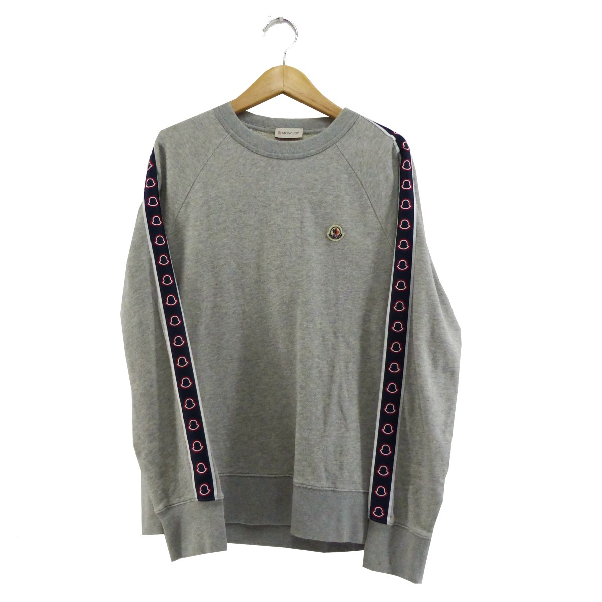 【中古】MONCLERBRADED SWEAT SHIRT グレー サイズ:L