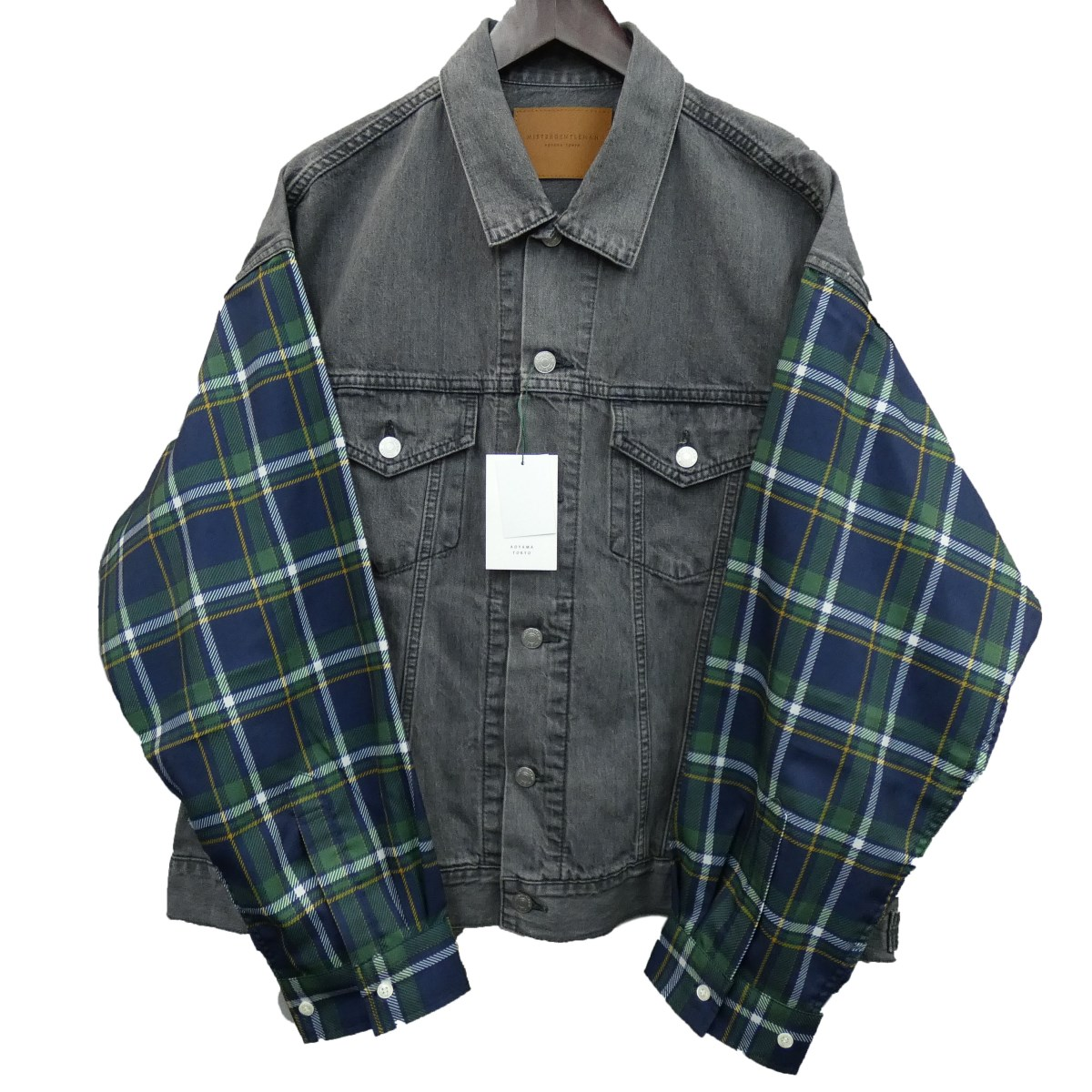 【中古】MR.GENTLEMAN 20SS 「MADRAS CHECK SLIT SHOULDER DENIM JACKET」 ブラック サイズ:L 【210320】(ミスタージェントルマン)
