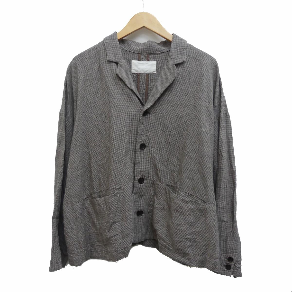 【中古】nest Robe 20SS リネン千鳥柄ジャケット ブラウンベージュ サイズ:Free 【220320】(ネストローブ)