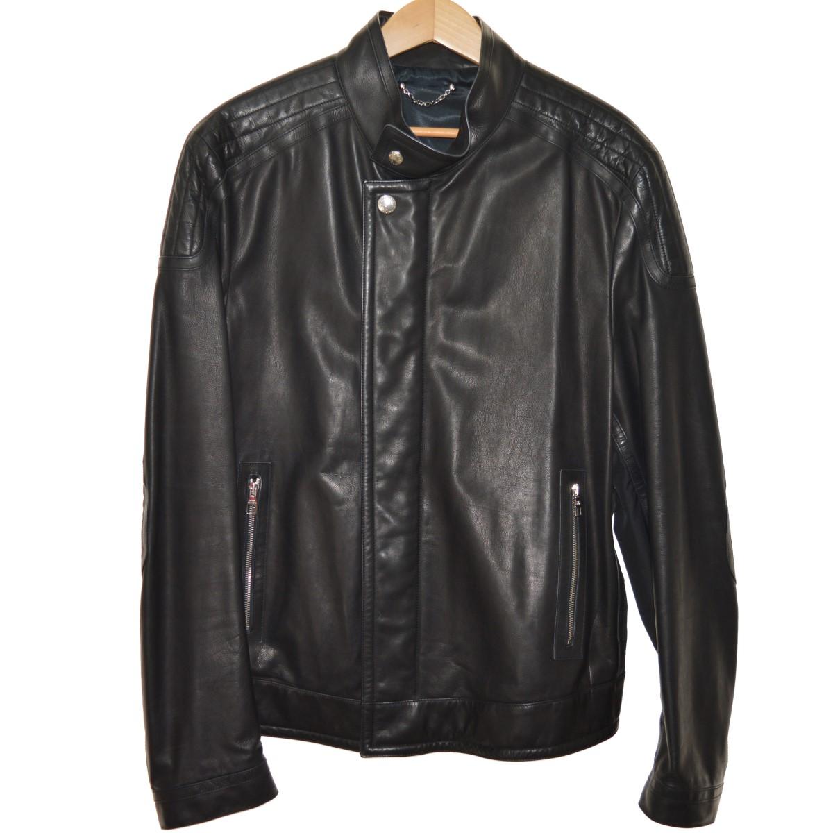 【中古】LOUIS VUITTONダミエ柄 レザージャケット ブラック サイズ:56 【5月14日見直し】
