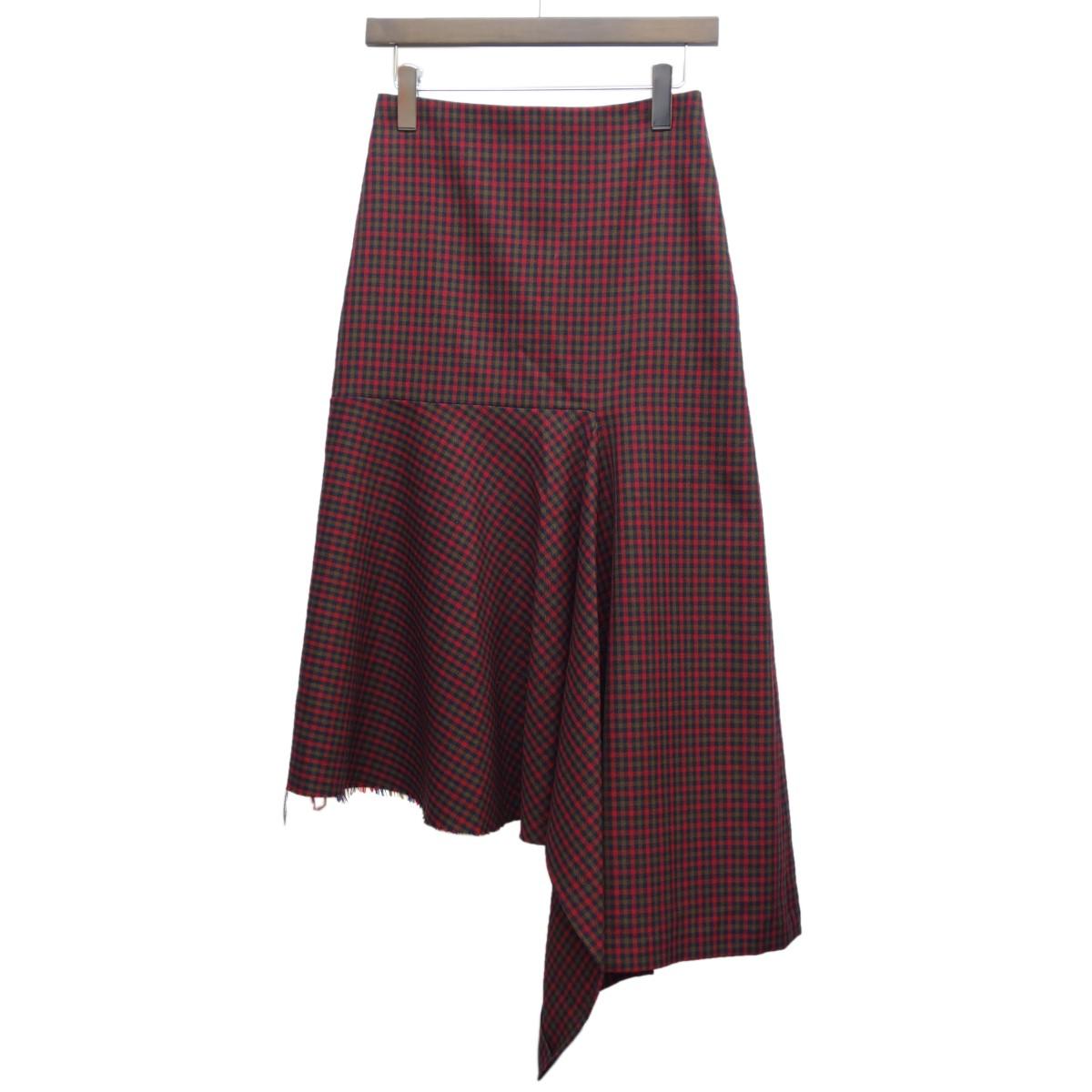 【中古】BALENCIAGA 18AW チェックアシンメトリースカート レッド サイズ:36 【220320】(バレンシアガ)