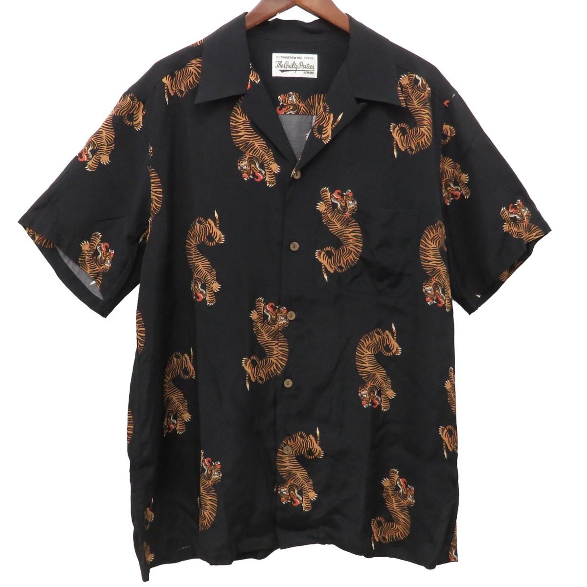 【中古】WACKO MARIA TIGER S/S HAWAIIAN SHIRT タイガー ハワイアンシャツ アロハシャツ ブラック サイズ:XL 【230320】(ワコマリア)