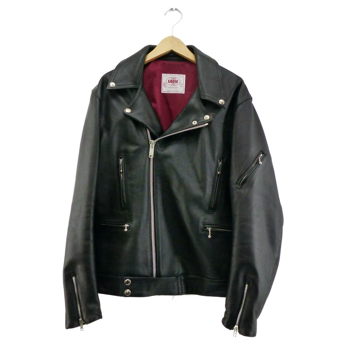 【中古】JAMES GROSEレザーライダースジャケット ブラック サイズ:42S 【5月11日見直し】