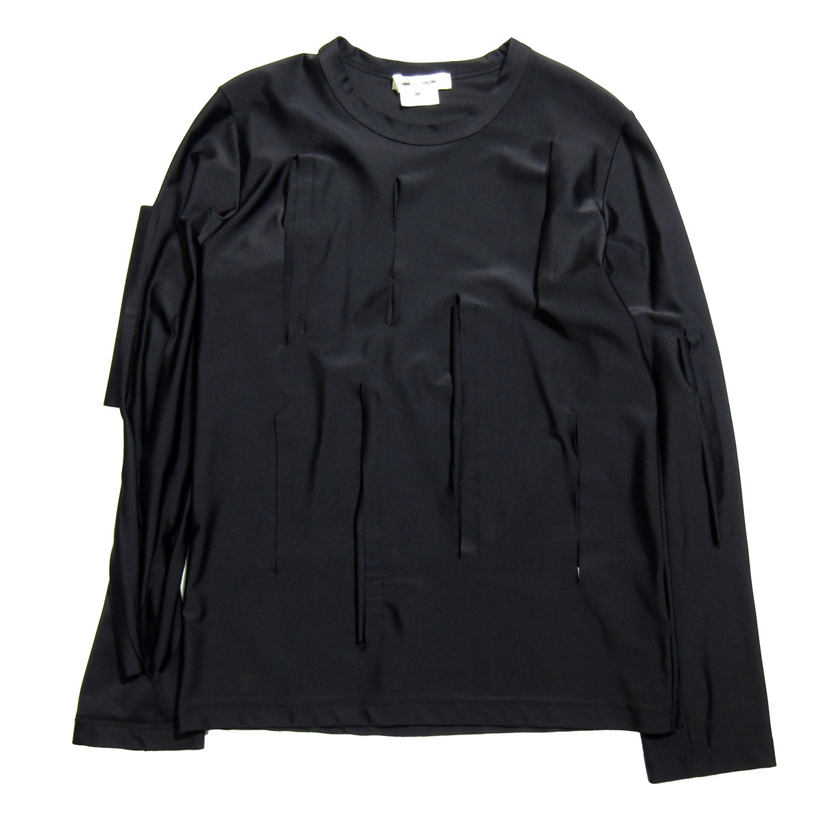 超目玉 コムデギャルソン 限定タイムセール 中古 COMME des GARCONS 2019SS サイズ:M 230320 カッティング加工ロングスリーブTシャツ ブラック