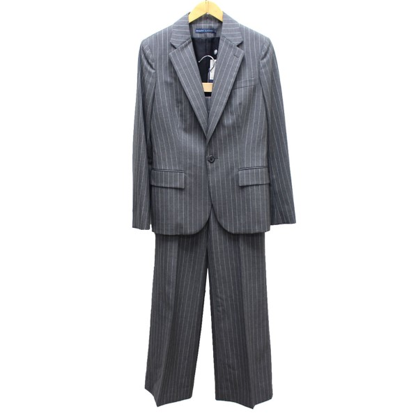 【中古】RALPH LAUREN HABERDASHERY ストライプ セットアップ パンツ スーツ グレー サイズ:上下共6(SM) 【230320】(ラルフローレン)