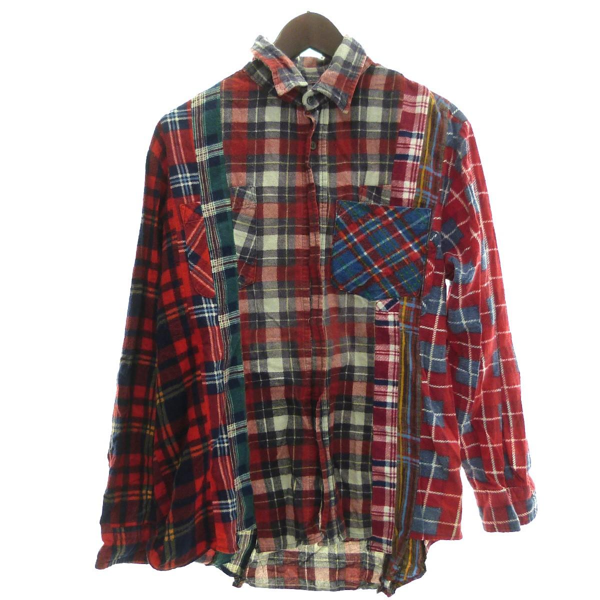 【中古】Rebuild by Needles 「Wide 7 Cuts Shirt」7カットチェックシャツ レッド サイズ:S 【240320】(リビルド バイ ニードルス)
