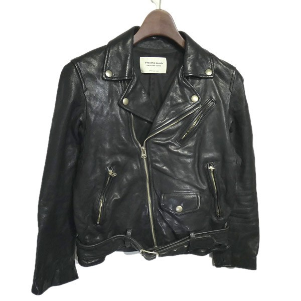 【中古】beautiful people 2018SS「shrink leather riders jacket」ダブルライダースジャケット ブラック サイズ:140 【240320】(ビューティフルピープル)