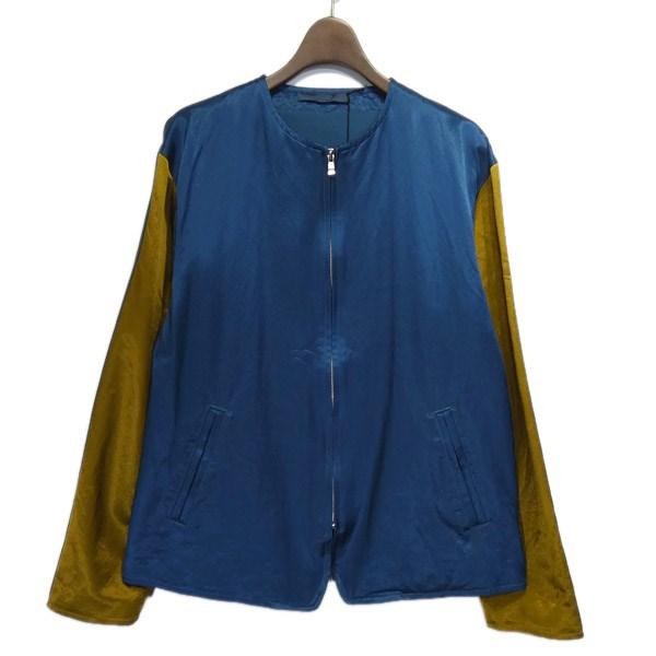 【中古】semoh サテンノーカラージップアップジャケット ネイビー×マスタード サイズ:1 【240320】(セモー)