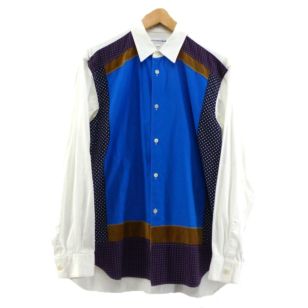 【中古】COMME des GARCONS SHIRT W25048 切替デザイン シャツ ブルー×ホワイト サイズ:S 【240320】(コムデギャルソンシャツ)