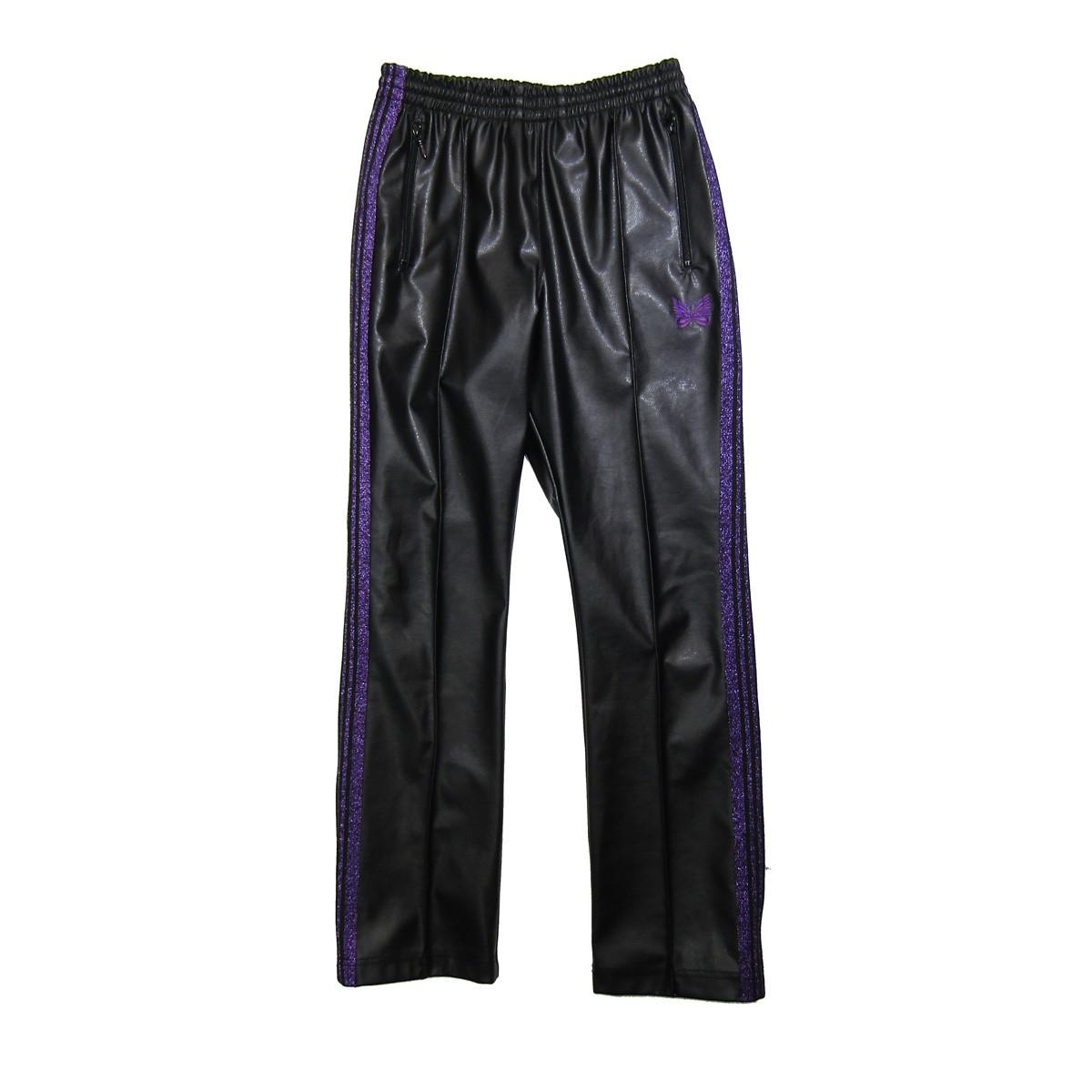 【中古】Needles Narrow Track Pant-Synthetic/合皮ナロートラックパンツ ブラック×パープル サイズ:S 【240320】(ニードルス)