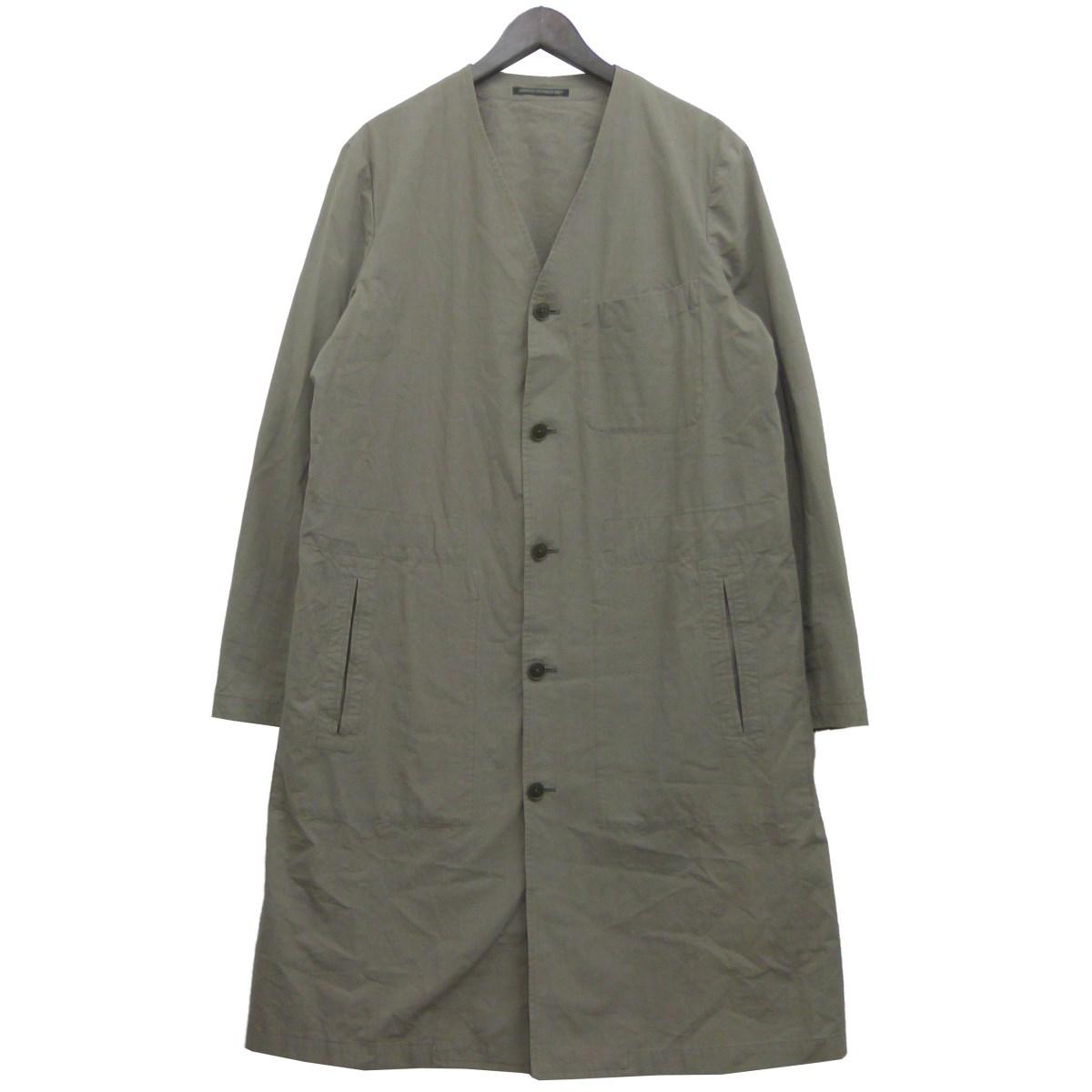 【中古】YOHJI YAMAMOTO pour homme ノーカラーコート カーキグレー サイズ:1 【240320】(ヨウジヤマモトプールオム)