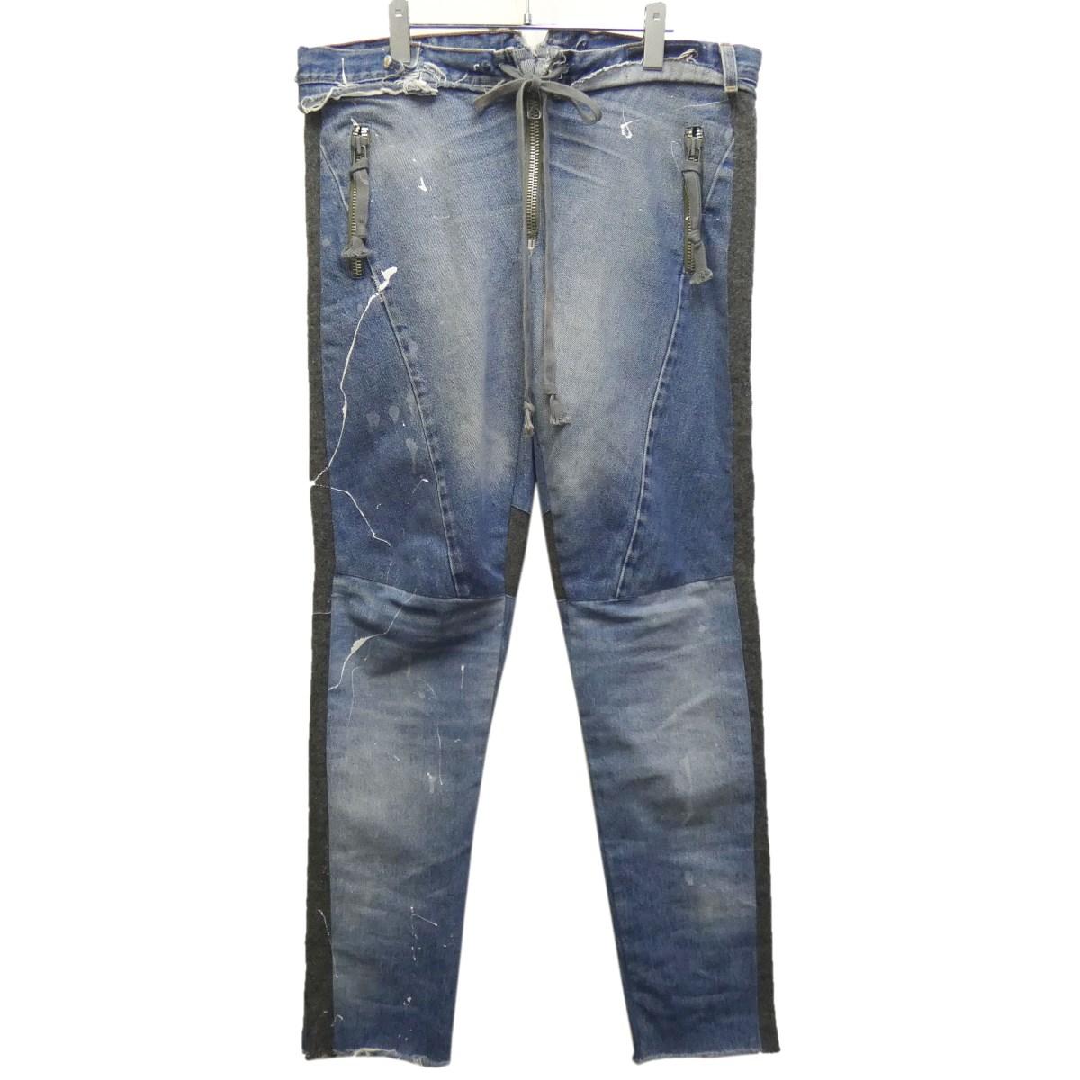 【中古】GREG LAUREN 「THE GLI AS01 PANT」 リメイクドローストリングデニムパンツ インディゴ サイズ:0 【240320】(グレッグローレン)