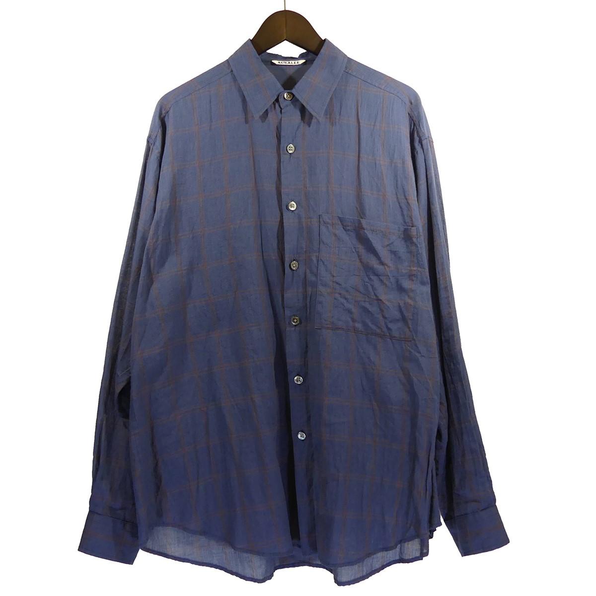 【中古】AURALEE 19SS SUPER LIGHT CHECK BIG SHIRTS スーパーライトチェックシャツ ネイビー サイズ:4 【240320】(オーラリー)