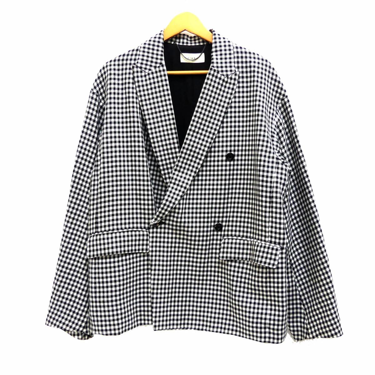 【中古】JieDa19SS ギンガムチェックテーラードジャケット ブラック×ホワイト サイズ:1 【5月14日見直し】