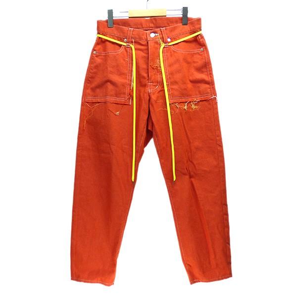 【中古】elephant TRIBAL fabrics 2019SS Cut of pocket Pants カラーデニム ドローコード パンツ オレンジ サイズ:S 【240320】(エレファントトライバルファブリックス)
