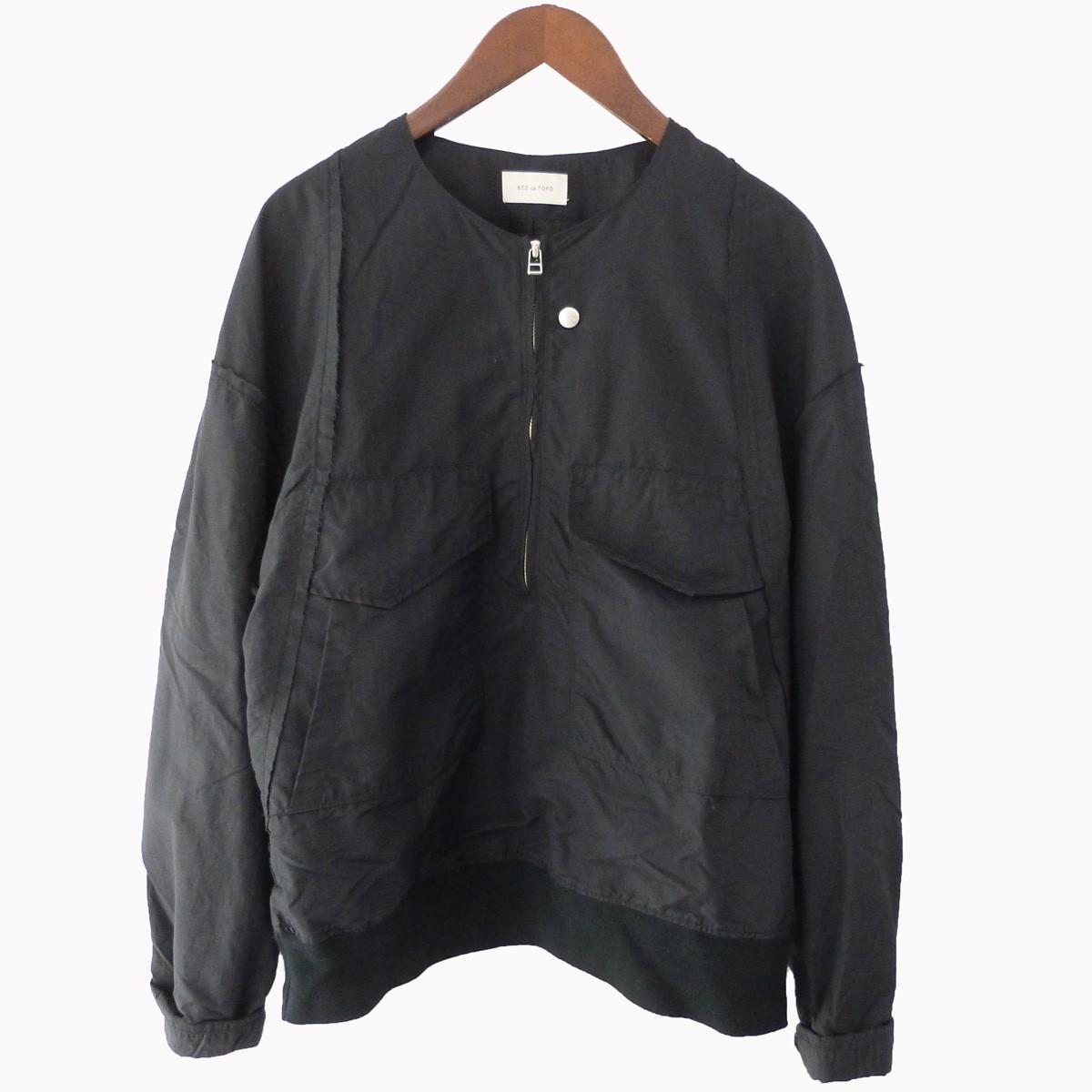 【中古】BED J.W. FORD 18AW ハーフZIPノーカラージャケット ブラック サイズ:1 【250320】(ベッドフォード)