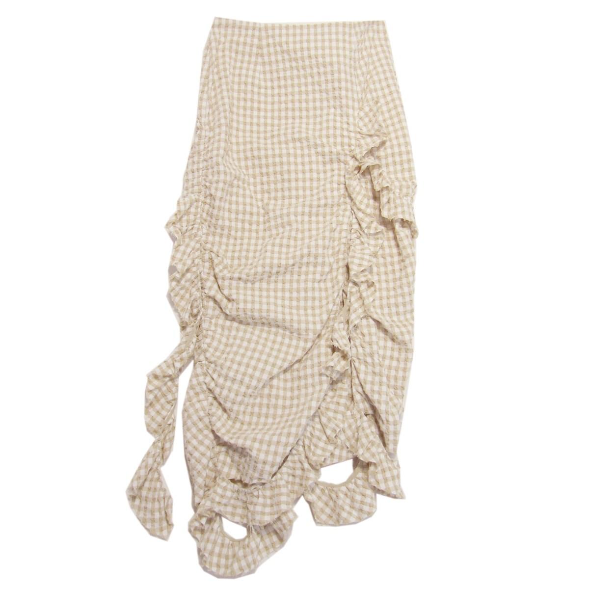 【中古】IRENE 2019SS Gingham Check Skirt ギンガムチェックスカート ベージュ サイズ:38 【250320】(アイレネ)