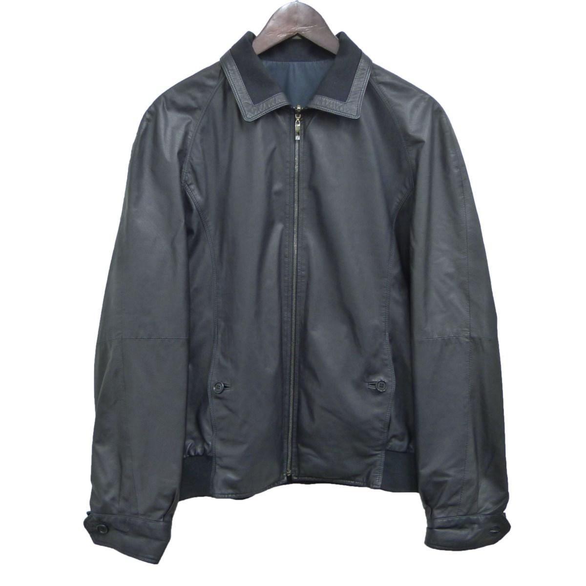 【中古】LOEWE リバーシブルレザージャケット ネイビー サイズ:M 【250320】(ロエベ)