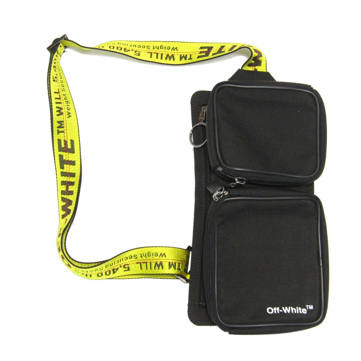 【中古】OFF-WHITE 2018AW Cordura Hip Belt Bag ロゴクロスバッグ ブラック 【250320】(オフホワイト)