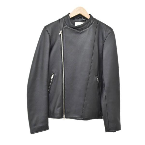 【中古】PUBLIC TOKYO撥水加工UKラムレザーセミダブルライダースジャケット ブラック サイズ:2 【4月27日見直し】