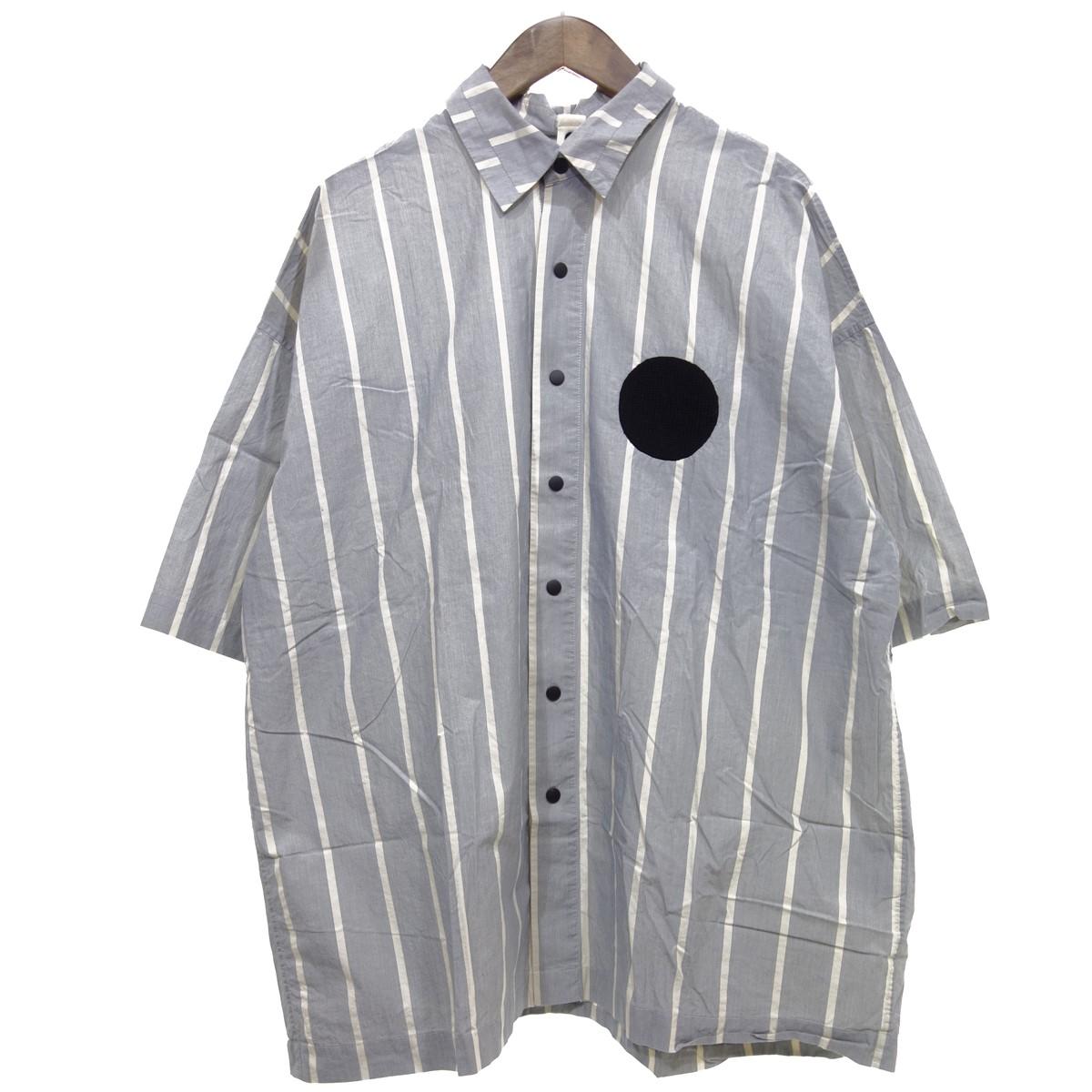 【中古】my beautiful landlet タイプライタークロスワイドシャツ ストライプ ライトブルー×ホワイト サイズ:0 【260320】(マイ ビューティフル ランドレット)
