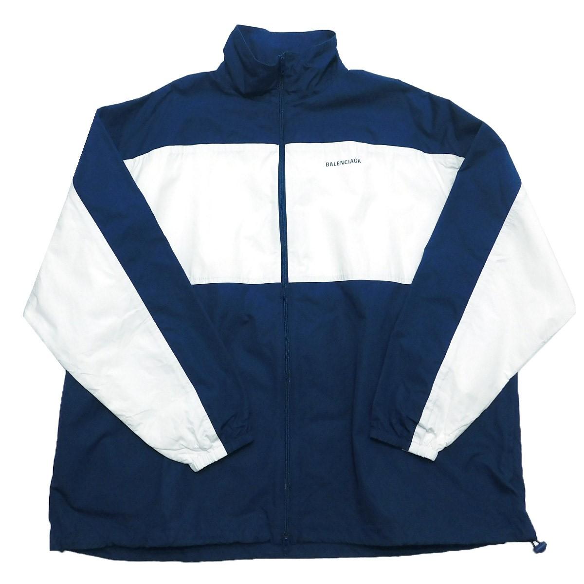 【中古】BALENCIAGA 2020SS ポプリンジャケット ジップアップトラックジャケット ネイビー サイズ:44 【250320】(バレンシアガ)