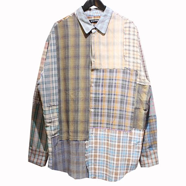 【中古】proposition CHECK SHIRT クレイジーパターン リメイク パッチワーク チェックシャツ ブラウン サイズ:XL 【250320】(プロポジション)